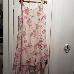 Floral Ruffle Midi Dress Size 14